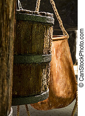 Two old buckets. - Old buckets used for transportation salt...