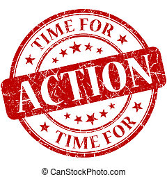Time for action red round grungy vintage isolated rubber...