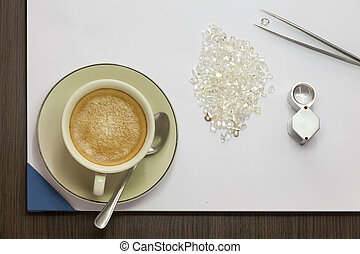 Coffee and Diamond - Coffee, Diamonds, Magnifying Glass and...