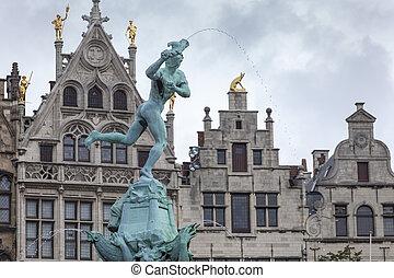 Antwerp City Center - Brabo fountain at Antwerp central...