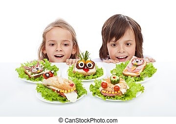 Kids discovering the the healthy sandwich alternative -...
