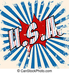 pop art u.s.a. text bubble, illustration in vector format
