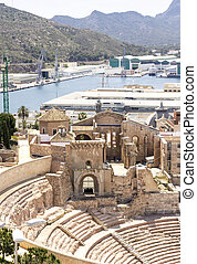 Roman Amphitheater in Cartagena, Murcia, Spain - Roman...