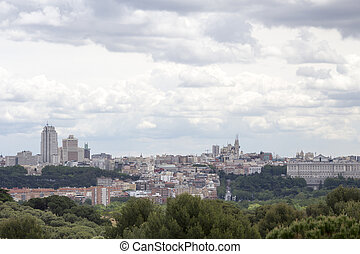 Madrid skyline with a dramtic sky