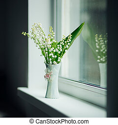Vase with may-lily - Vase with lily of the valley. Shallow...
