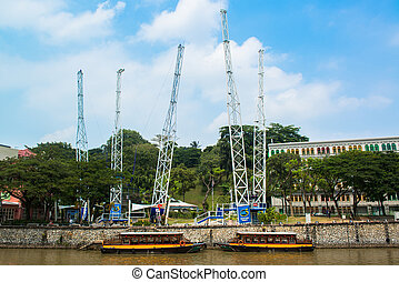 singapore river at Boat quay - cityscape of singapore river...