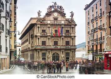 City Hall Square Pamplona in Spain - People gathering by...