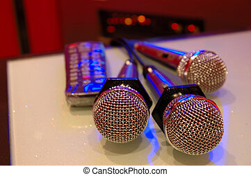 Karaoke microphones - Close up of karaoke microphones and...