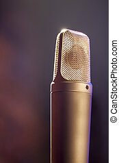 Microphone on stage - A microphone with a brick stage...