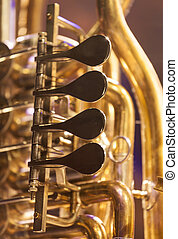 Close up of brass instrument - Close up of tube on a stage...