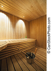 Interior of a Finnish sauna. - Close-up of sauna bath ready...