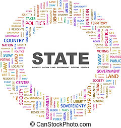STATE. Background concept wordcloud illustration. Print...