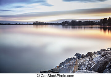 Beautiful lake coast during sunrise, Finland