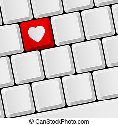 Keyboard with heart button - Computer keyboard with red...