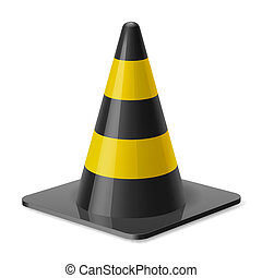 Traffic cone - Black and yellow road cone Safety sign used...