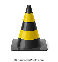 Traffic cone - Black and yellow traffic pylon. Safety sign...