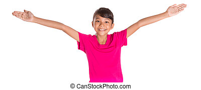 Young Girl Wth Pink Tshirt - Young Asian Malay girl with...