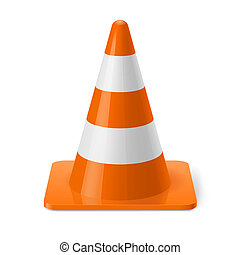 Traffic cone - White and orange road cone Safety sign used...