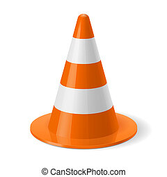 Traffic cone - White and orange traffic cone. Safety sign...