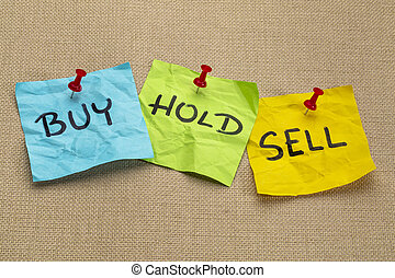 buy, hold, sell iconcept