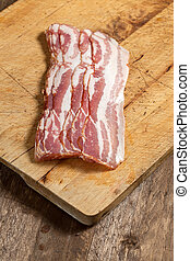Raw bacon.