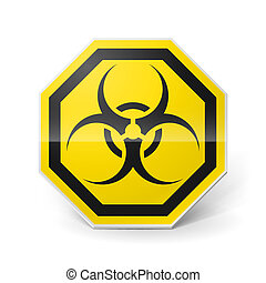 Biohazard sign - Shiny metal biohazard sign in black and...