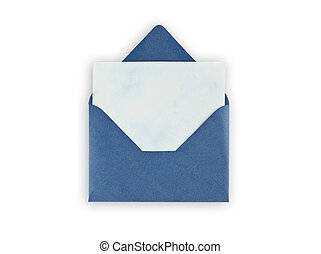 Old open envelope with paper on white background. - Old open...