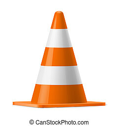 Traffic cone - White and orange traffic cone. Sign used for...