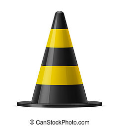 Traffic cone - Black and yellow traffic pylon. Sign used for...
