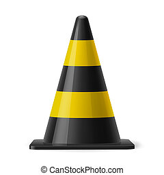 Traffic cone - Black and yellow traffic cone. Safety sign...