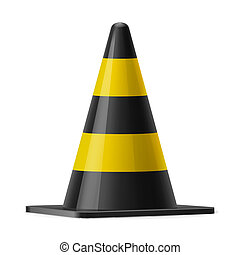Traffic cone - Black and yellow traffic cone. Sign used to...