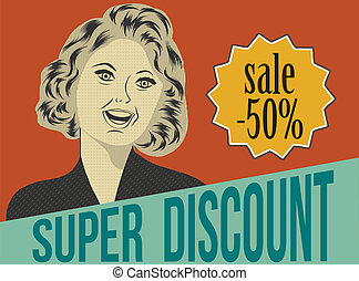 pop art woman with message, commercial retro clipart