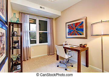 Cozy soft tones office room