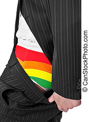 businessman with rainbow underwear - a businessman showing...