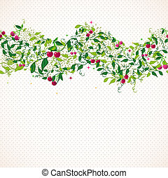 Seamless pattern garland with cherry
