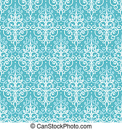 Light blue swirls damask seamless pattern background -...