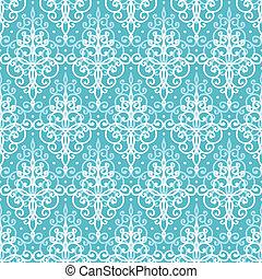 Light blue swirls damask seamless pattern background -...