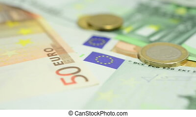 European exchange - European cash, banknotes and coins.