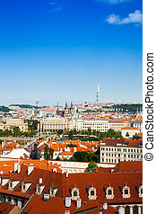View on red roofs in Prague, Czech Republic