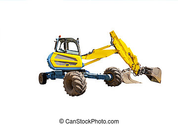 Yellow excavator on the white background - One yellow...