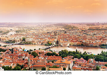 Cityscape and Charles Bridge in Prague