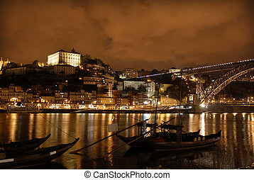 oporto town by night in the north of portugal