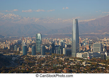 Modern Santiago - Modern office and apartment blocks of...