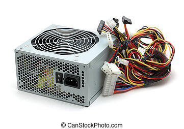 Power supply - Computer power supply in isolated white...