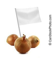 Healthy and organic food concept Fresh onion with flag...
