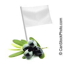 Healthy and organic food concept Fresh black olive with flag...