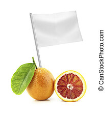 Healthy and organic food concept Fresh Orange with flag...