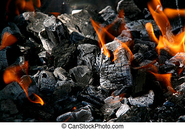 Charcoal with fire - Fire in burning charcoal