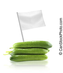 Healthy and organic food concept Fresh Cucumber with flag...