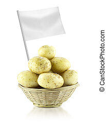 Healthy and organic food concept Fresh Potato with flag...